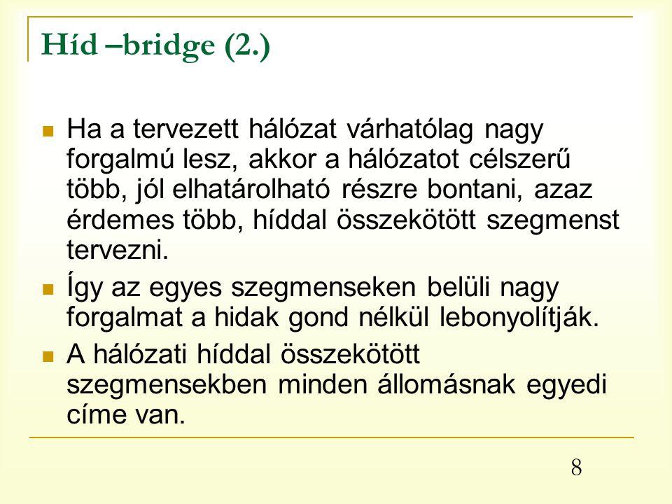 9 Híd –bridge (3.) Hálózati hidak tisztán szoftverrel is megvalósíthatók, a szükséges hardvert a meglévő hálózati eszközök adják.