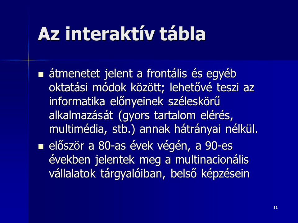 11 Az interaktív tábla átmenetet jelent a frontális és egyéb oktatási módok között; lehetővé teszi az informatika előnyeinek széleskörű alkalmazását (