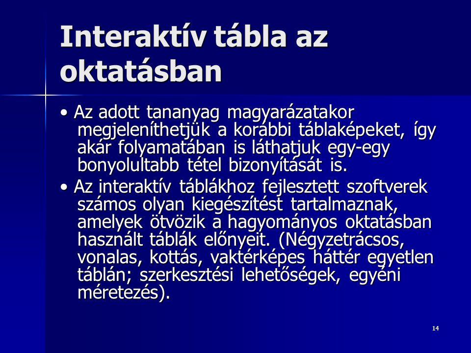 14 Interaktív tábla az oktatásban Az adott tananyag magyarázatakor megjeleníthetjük a korábbi táblaképeket, így akár folyamatában is láthatjuk egy-egy