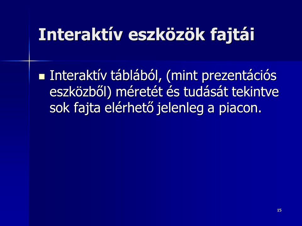 15 Interaktív eszközök fajtái Interaktív táblából, (mint prezentációs eszközből) méretét és tudását tekintve sok fajta elérhető jelenleg a piacon. Int