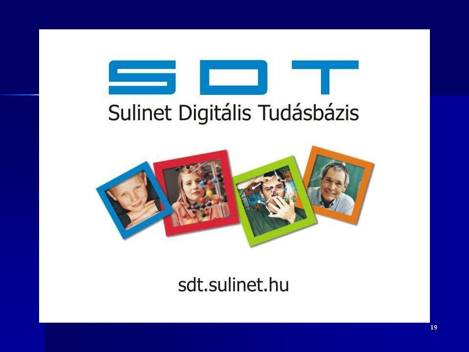 20 (SDT) Sulinet Digitális Tudásbázis Az interaktív táblák használatához szükséges digitális tartalom szinte minden témakörben elérhető a Sulinet Digitális Tudásbázisban Az interaktív táblák használatához szükséges digitális tartalom szinte minden témakörben elérhető a Sulinet Digitális Tudásbázisban akkreditált pedagógus-továbbképzési programok akkreditált pedagógus-továbbképzési programok