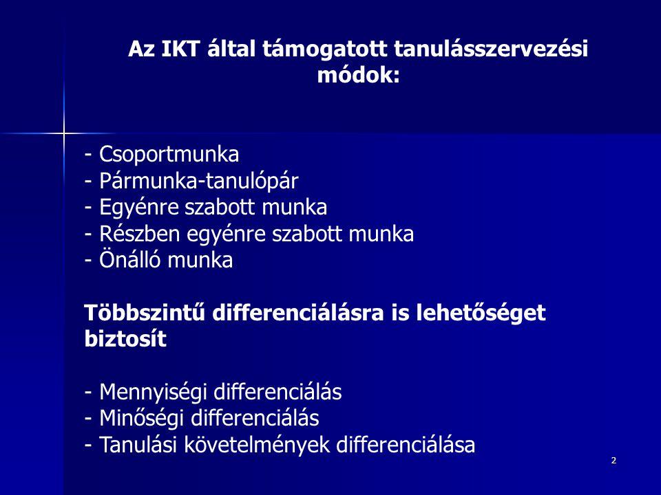 2 Az IKT által támogatott tanulásszervezési módok: - Csoportmunka - Pármunka-tanulópár - Egyénre szabott munka - Részben egyénre szabott munka - Önáll