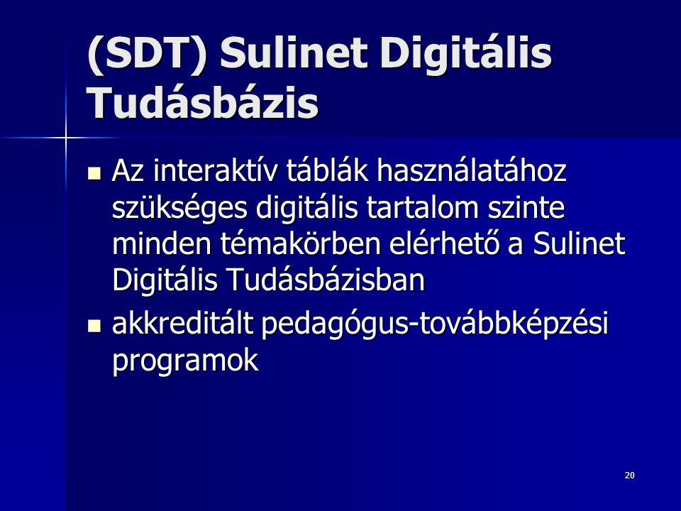 20 (SDT) Sulinet Digitális Tudásbázis Az interaktív táblák használatához szükséges digitális tartalom szinte minden témakörben elérhető a Sulinet Digi