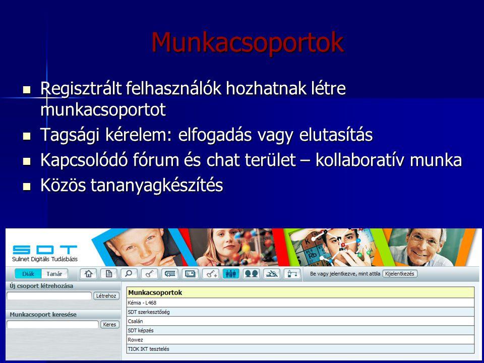 24 Munkacsoportok Regisztrált felhasználók hozhatnak létre munkacsoportot Regisztrált felhasználók hozhatnak létre munkacsoportot Tagsági kérelem: elf