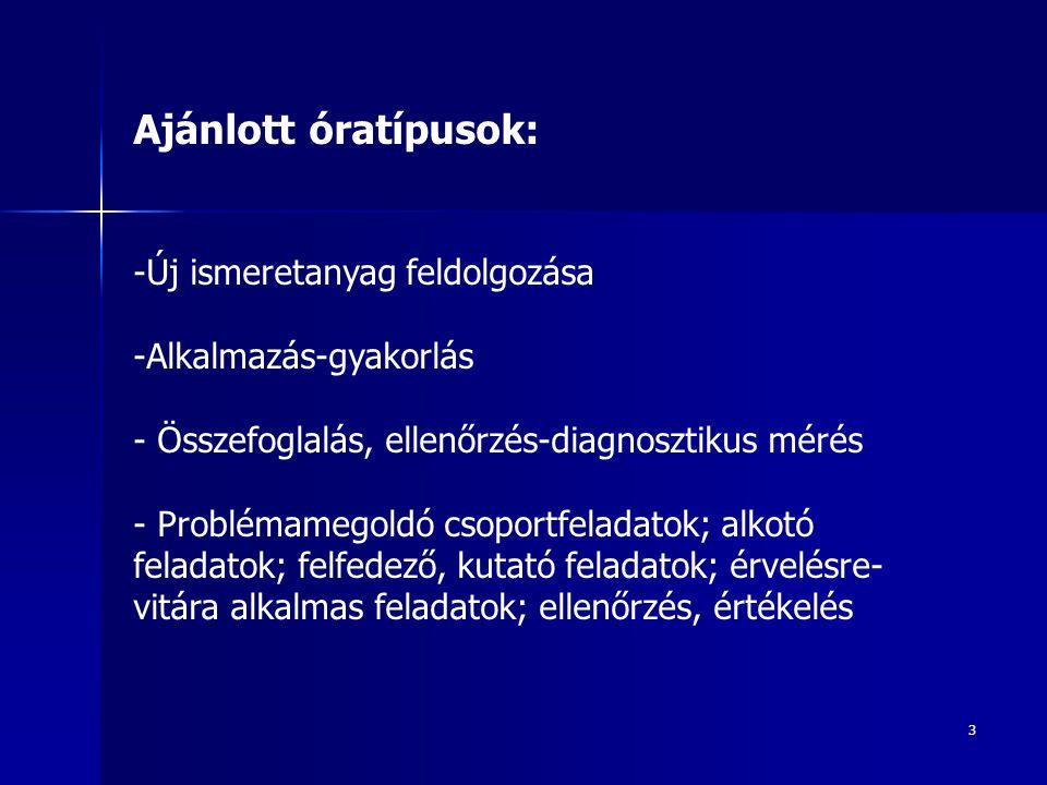 3 Ajánlott óratípusok: -Új ismeretanyag feldolgozása -Alkalmazás-gyakorlás - Összefoglalás, ellenőrzés-diagnosztikus mérés - Problémamegoldó csoportfe