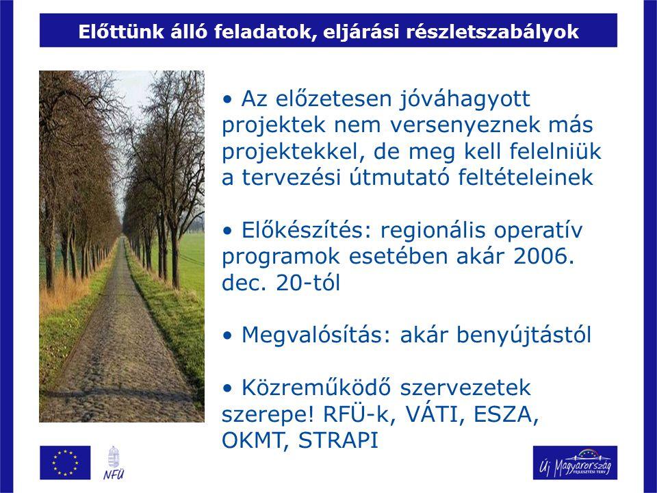 Tervezési útmutatók Téma Véleményezés tervezett ideje Kiadás tervezett ideje ROP önkormányzati út (DA, ÉA), kerékpárút (DA, ÉA) május eleje (megtörtént) május közepe (megtörtént) ROP oktatási és szociális infrastruktúra (mind), funkcióbővítő (mind) és kisléptékű településfejlesztés (ÉA, ÉM), környezetfejlesztés (DD, ÉM) május második fele (megtörtént) május ROP gazdaságfejlesztés (mind), közösségi közlekedés (DA, ÉA), egészségügyi infrastruktúra (DA, ÉA, ÉM), szociális város-rehabilitáció (DD) május vége- június eleje június közepe TÁMOP gyerek programok és wifi falu, egészség- fejlesztés június első felejúnius TÁMOP oktatás, képzés-foglalkoztatás és helyi-civil programok, TIOP oktatási és szociális infrastruktúra július első felejúlius TÁMOP egészségügyi kapacitásfejlesztés legkésőbb augusztus legkésőbb szeptember