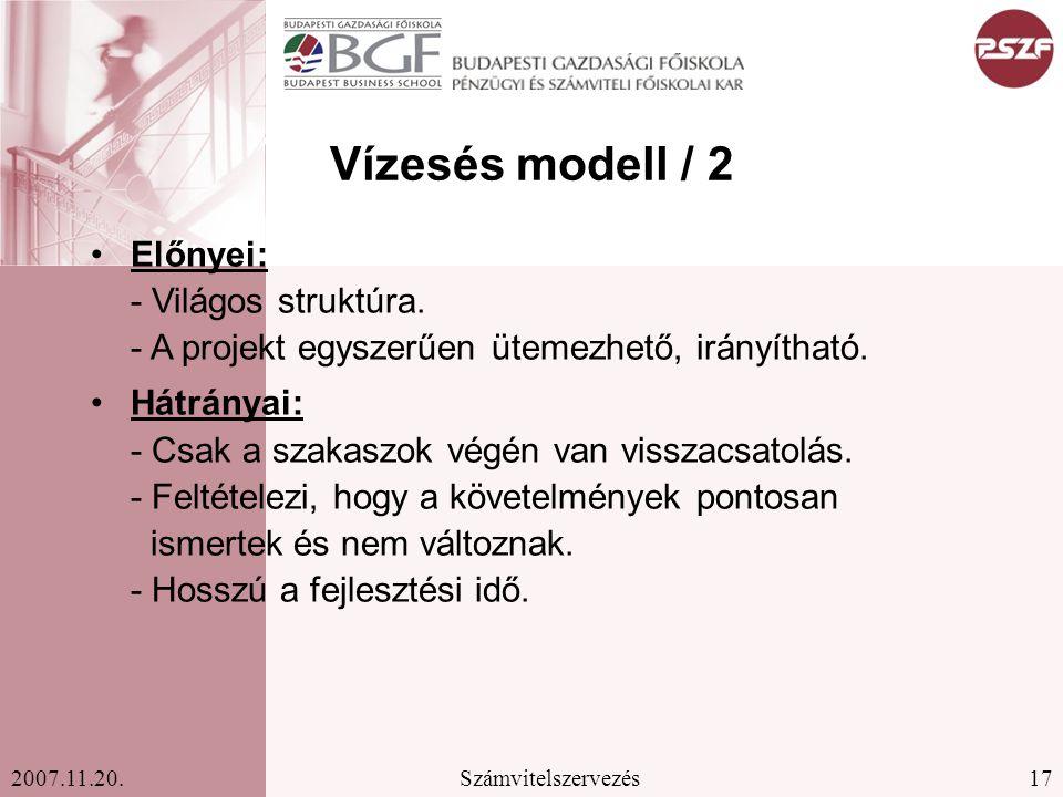17Számvitelszervezés2007.11.20.Vízesés modell / 2 Előnyei: - Világos struktúra.