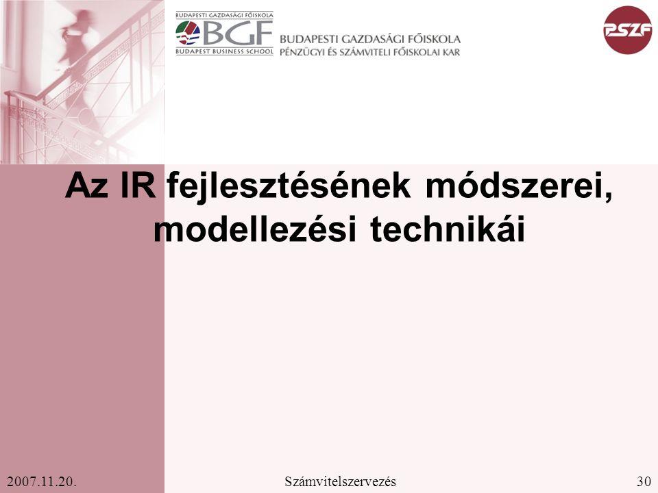 30Számvitelszervezés2007.11.20. Az IR fejlesztésének módszerei, modellezési technikái