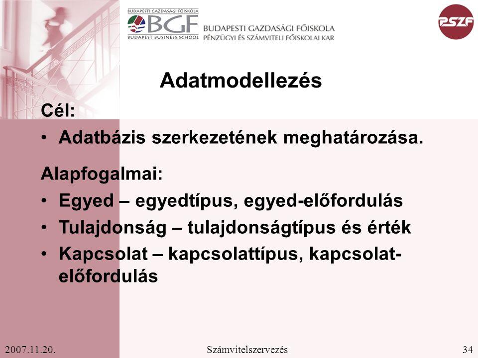 34Számvitelszervezés2007.11.20.Adatmodellezés Cél: Adatbázis szerkezetének meghatározása.
