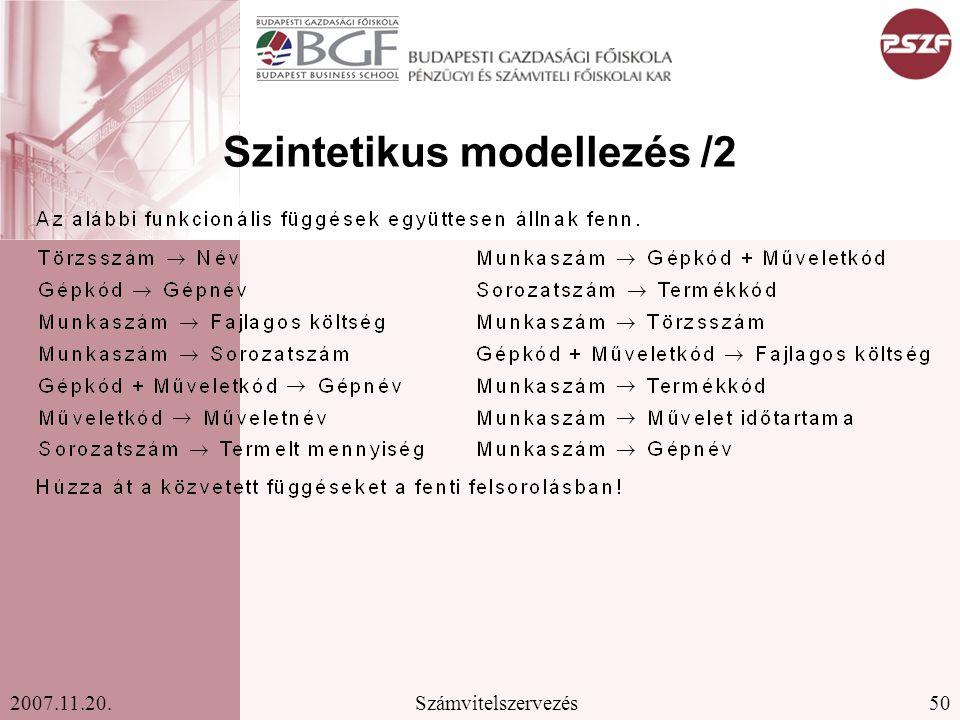 50Számvitelszervezés2007.11.20. Szintetikus modellezés /2