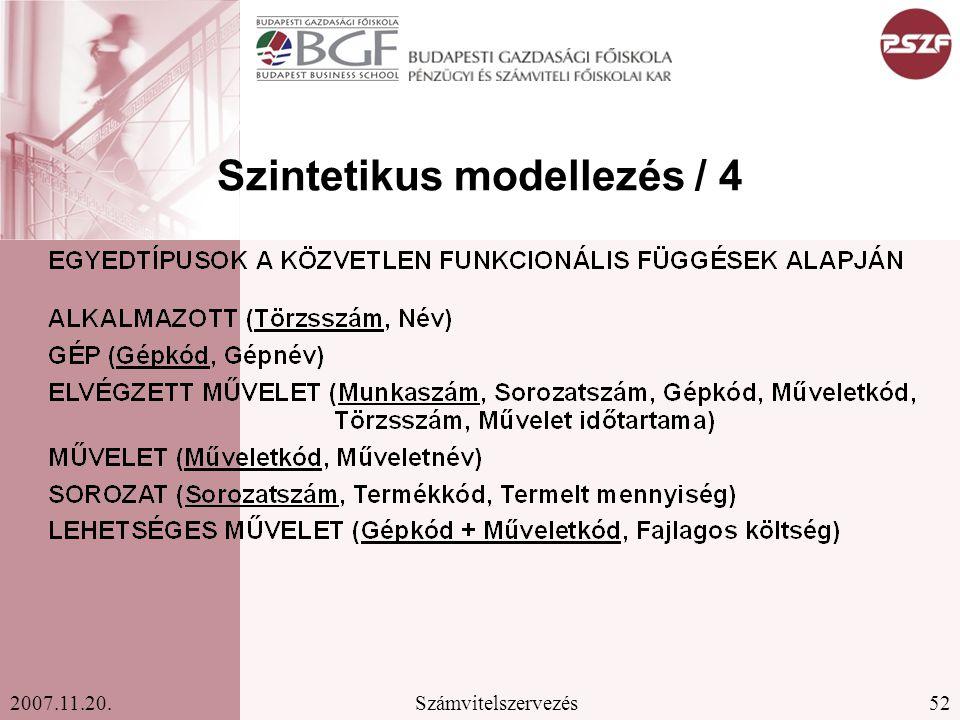 52Számvitelszervezés2007.11.20. Szintetikus modellezés / 4