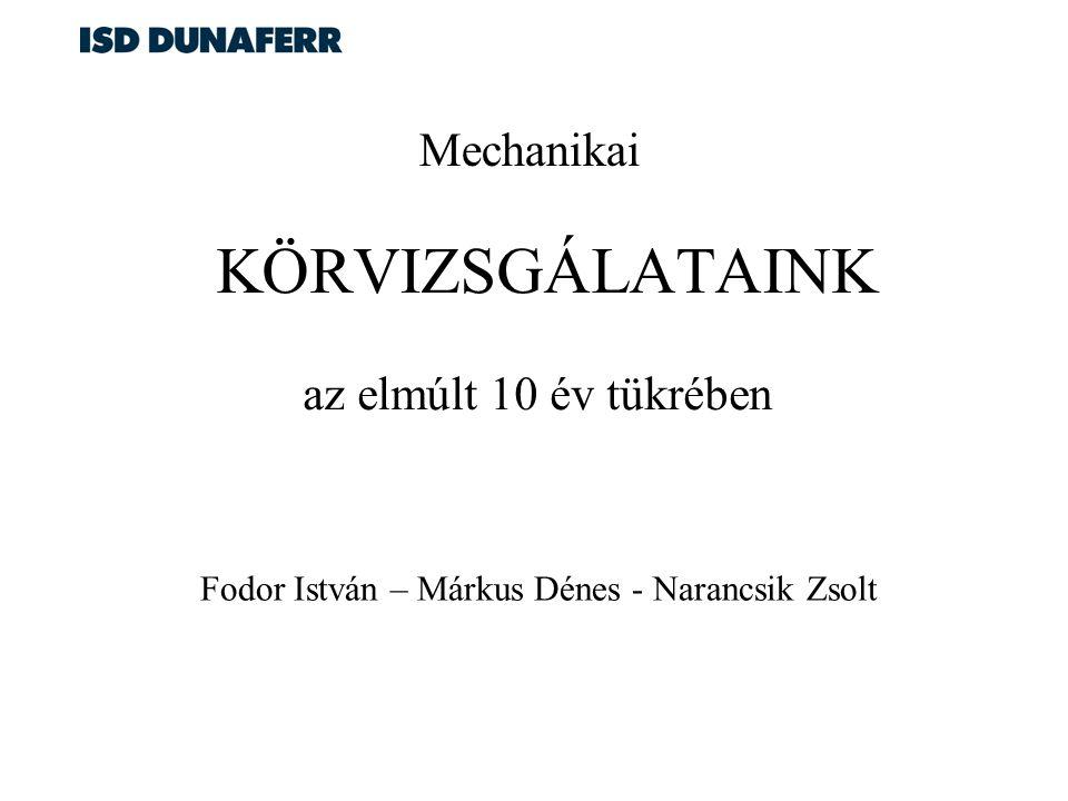 KÖRVIZSGÁLATAINK az elmúlt 10 év tükrében Fodor István – Márkus Dénes - Narancsik Zsolt Mechanikai