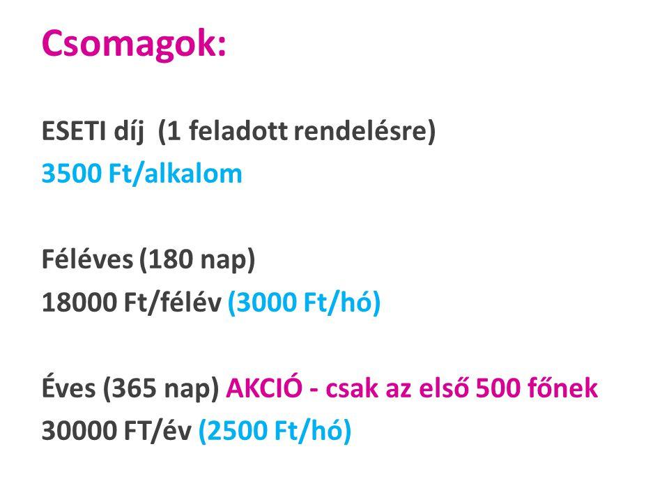 Csomagok: ESETI díj (1 feladott rendelésre) 3500 Ft/alkalom Féléves (180 nap) 18000 Ft/félév (3000 Ft/hó) Éves (365 nap) AKCIÓ - csak az első 500 főnek 30000 FT/év (2500 Ft/hó)