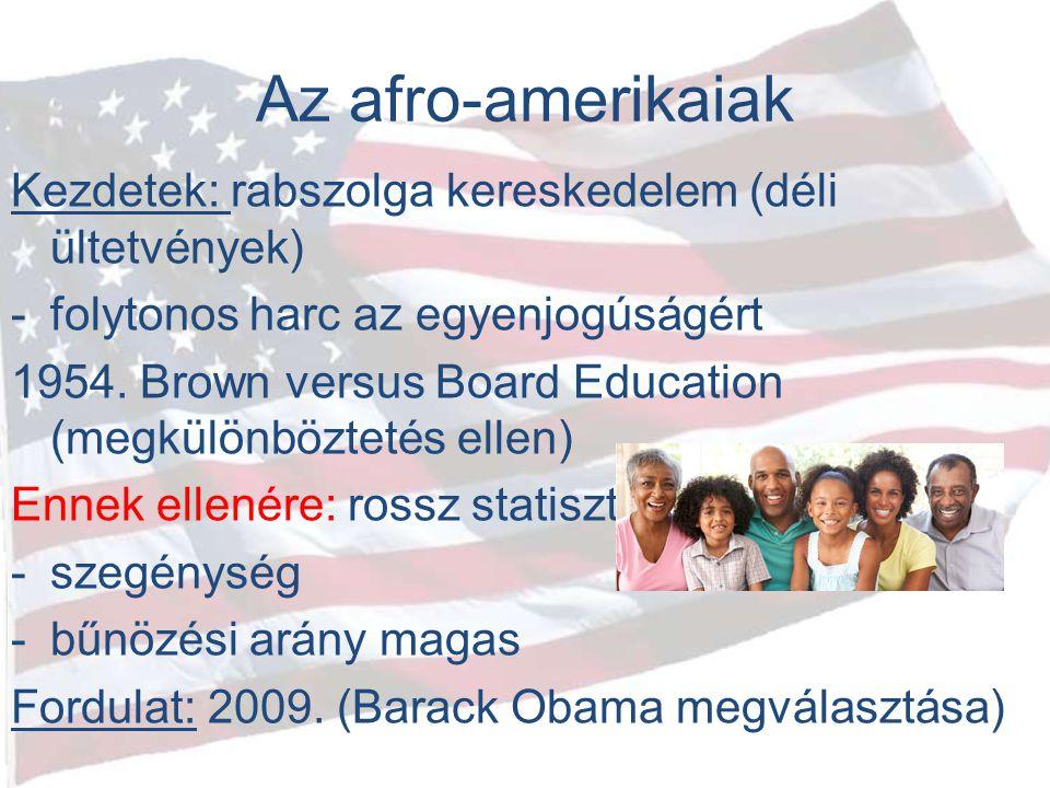 Az afro-amerikaiak Kezdetek: rabszolga kereskedelem (déli ültetvények) -folytonos harc az egyenjogúságért 1954. Brown versus Board Education (megkülön