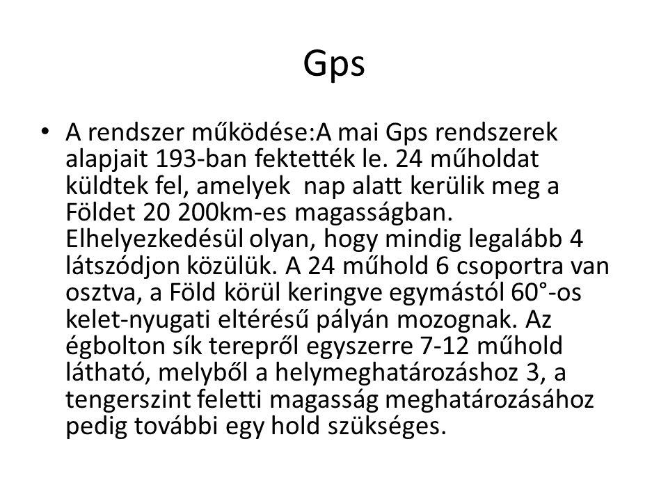 Gps A rendszer működése:A mai Gps rendszerek alapjait 193-ban fektették le. 24 műholdat küldtek fel, amelyek nap alatt kerülik meg a Földet 20 200km-e