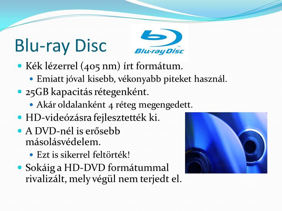 Blu-ray Disc Kék lézerrel (405 nm) írt formátum. Emiatt jóval kisebb, vékonyabb piteket használ. 25GB kapacitás rétegenként. Akár oldalanként 4 réteg