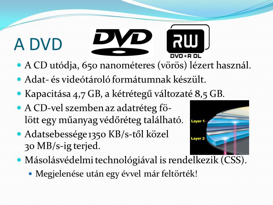 A DVD A CD utódja, 650 nanométeres (vörös) lézert használ. Adat- és videótároló formátumnak készült. Kapacitása 4,7 GB, a kétrétegű változaté 8,5 GB.