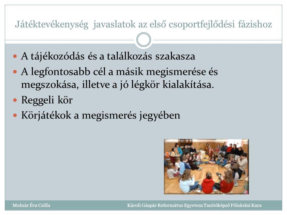Játéktevékenység javaslatok az első csoportfejlődési fázishoz Molnár Éva Csilla Károli Gáspár Református Egyetem Tanítóképző Főiskolai Kara A tájékozódás és a találkozás szakasza A legfontosabb cél a másik megismerése és megszokása, illetve a jó légkör kialakítása.
