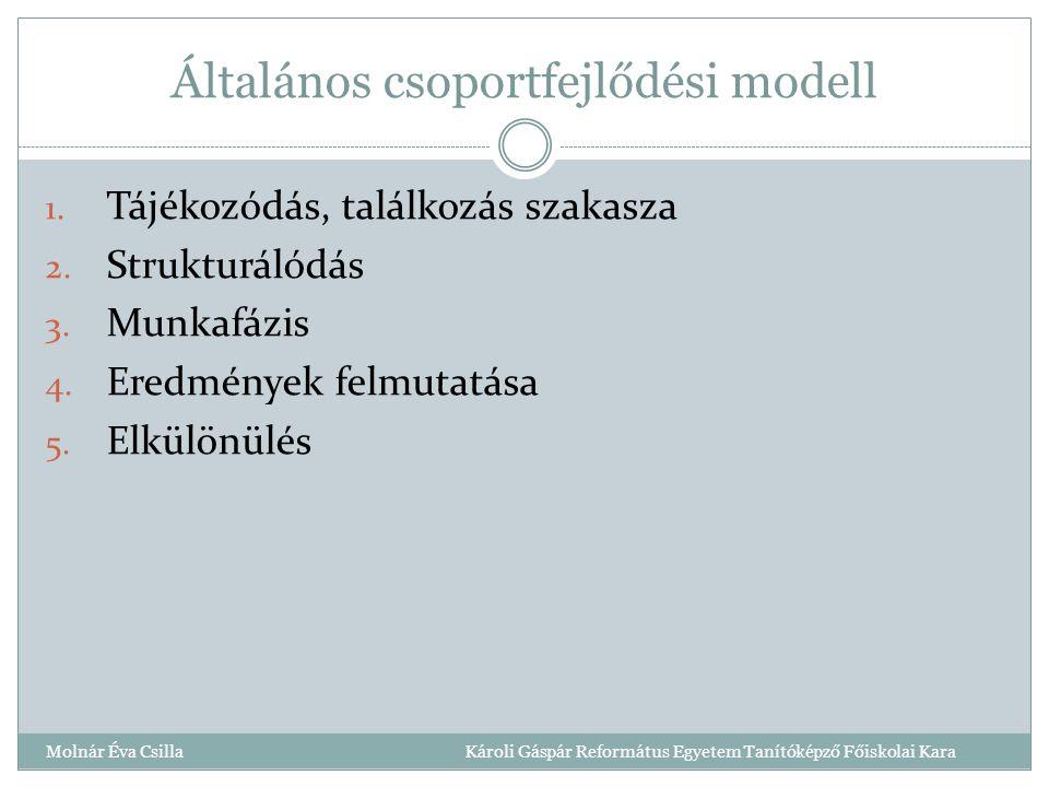 Általános csoportfejlődési modell 1.Tájékozódás, találkozás szakasza 2.