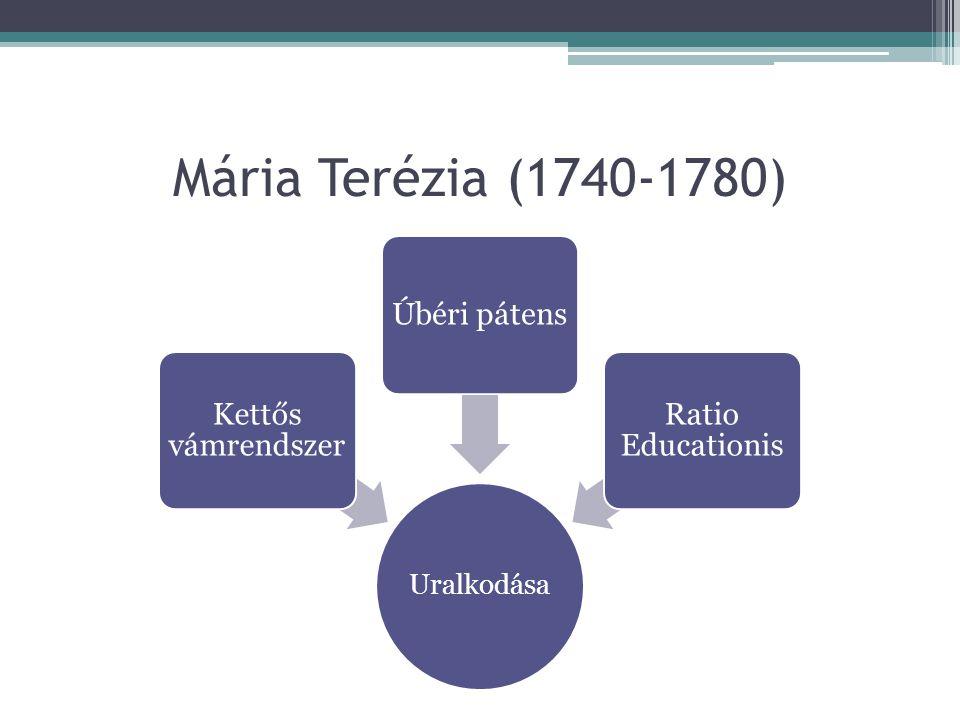 Mária Terézia (1740-1780) Uralkodása Kettős vámrendszer Úbéri pátens Ratio Educationis