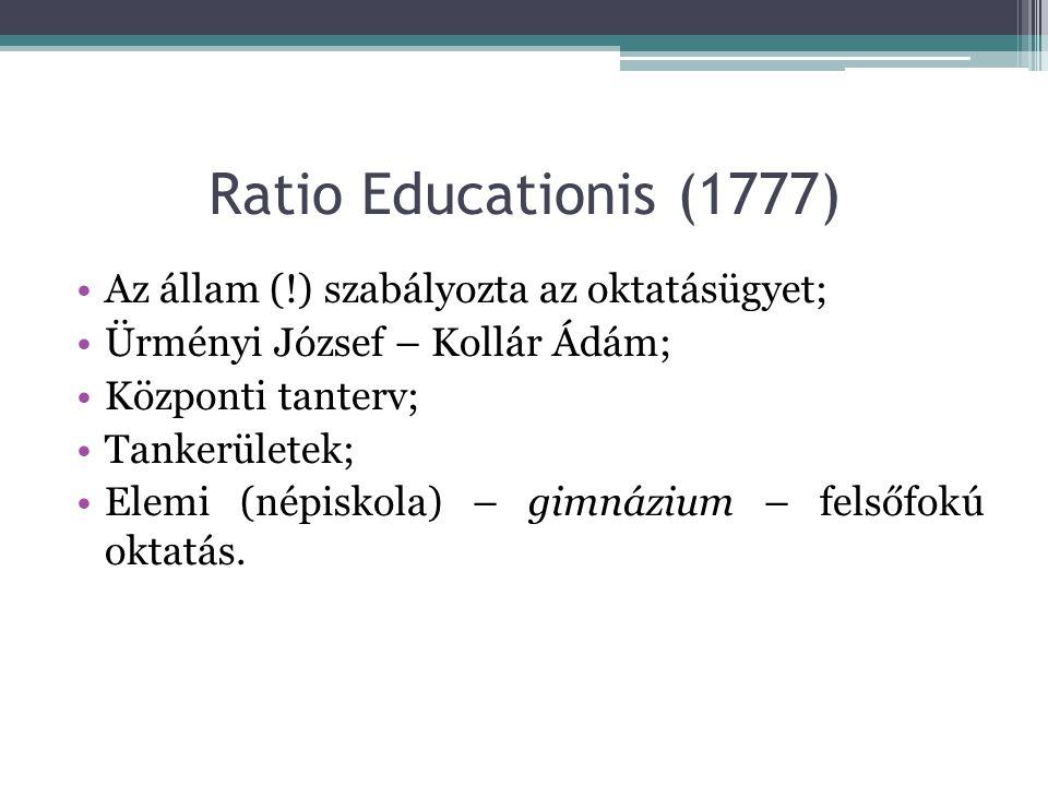 Ratio Educationis (1777) Az állam (!) szabályozta az oktatásügyet; Ürményi József – Kollár Ádám; Központi tanterv; Tankerületek; Elemi (népiskola) – g