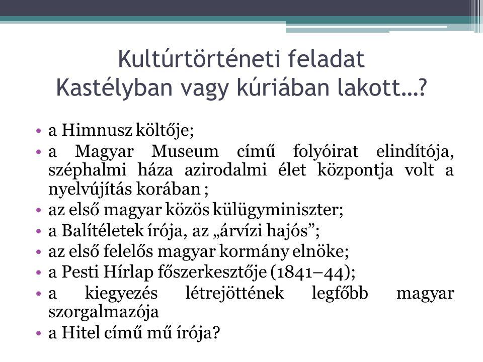 Kultúrtörténeti feladat Kastélyban vagy kúriában lakott…? a Himnusz költője; a Magyar Museum című folyóirat elindítója, széphalmi háza azirodalmi élet