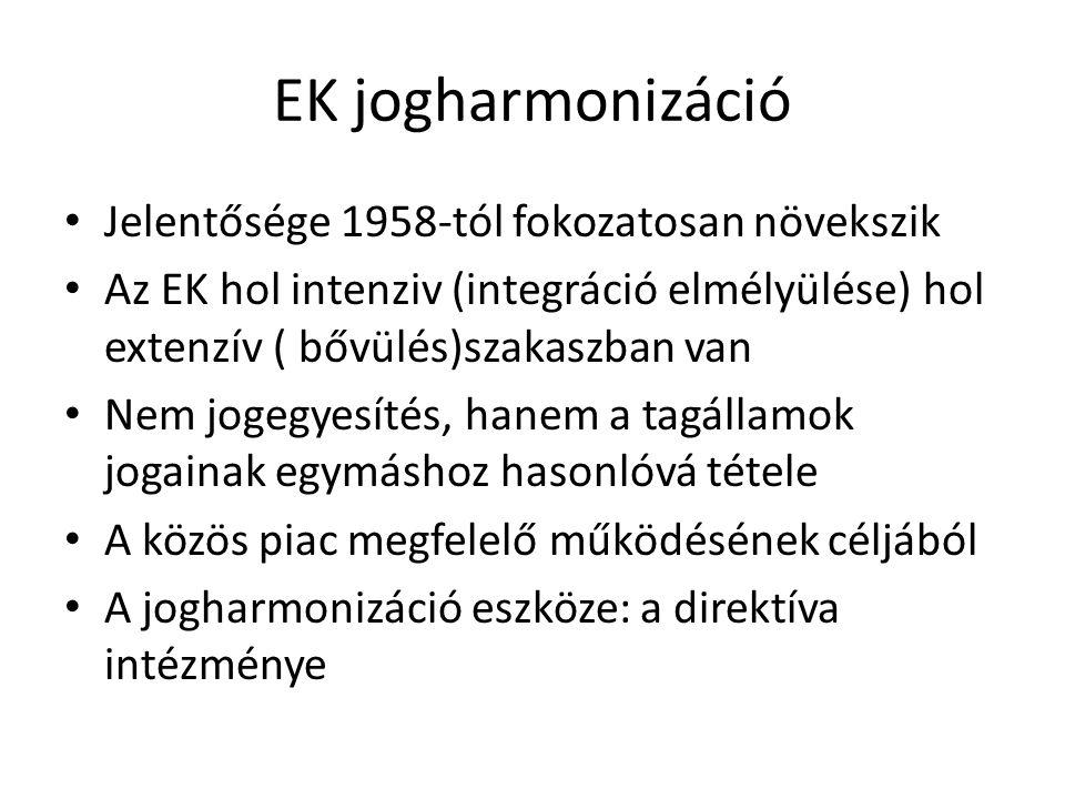 EK jogharmonizáció Jelentősége 1958-tól fokozatosan növekszik Az EK hol intenziv (integráció elmélyülése) hol extenzív ( bővülés)szakaszban van Nem jo