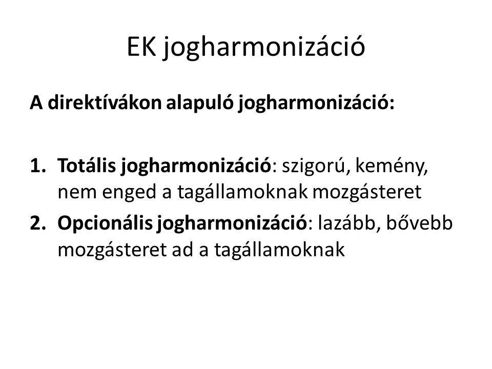 EK jogharmonizáció A direktívákon alapuló jogharmonizáció: 1.Totális jogharmonizáció: szigorú, kemény, nem enged a tagállamoknak mozgásteret 2.Opcioná