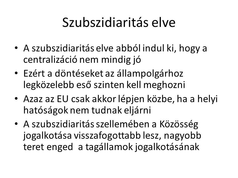 Szubszidiaritás elve A szubszidiaritás elve abból indul ki, hogy a centralizáció nem mindig jó Ezért a döntéseket az állampolgárhoz legközelebb eső sz