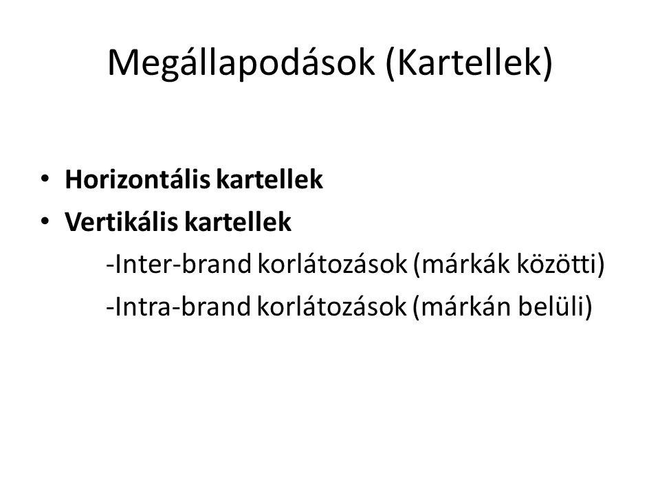 Megállapodások (Kartellek) Horizontális kartellek Vertikális kartellek -Inter-brand korlátozások (márkák közötti) -Intra-brand korlátozások (márkán be