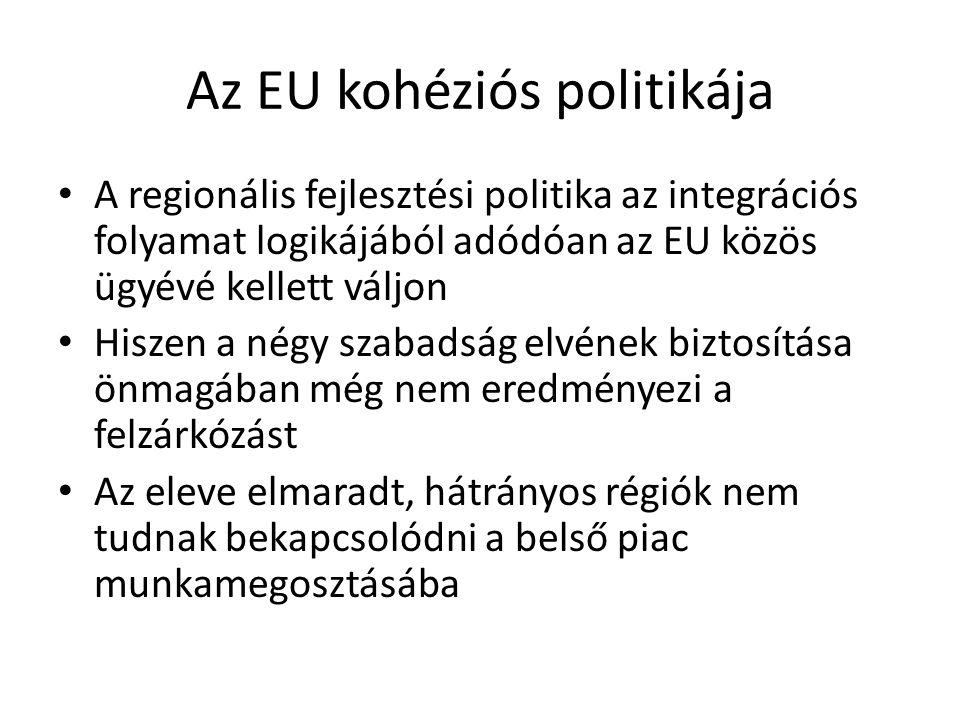 Az EU kohéziós politikája A regionális fejlesztési politika az integrációs folyamat logikájából adódóan az EU közös ügyévé kellett váljon Hiszen a nég