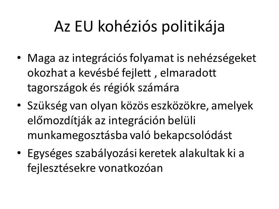 Az EU kohéziós politikája Maga az integrációs folyamat is nehézségeket okozhat a kevésbé fejlett, elmaradott tagországok és régiók számára Szükség van