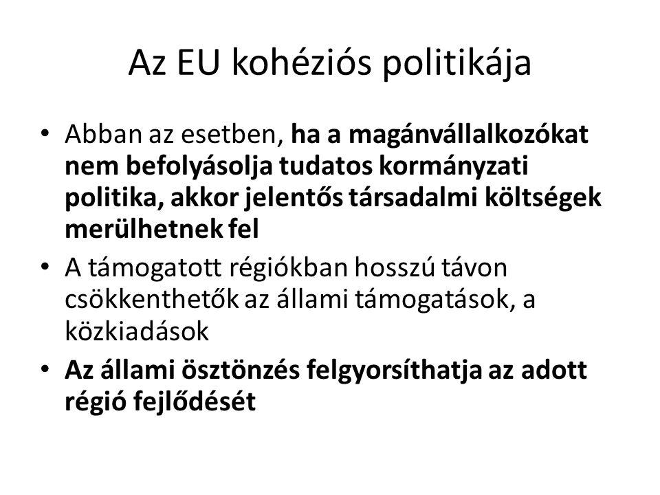 Az EU kohéziós politikája Abban az esetben, ha a magánvállalkozókat nem befolyásolja tudatos kormányzati politika, akkor jelentős társadalmi költségek