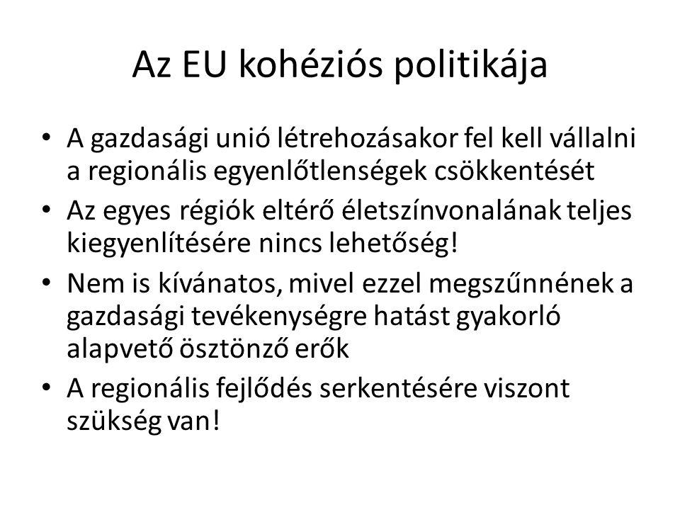 Az EU kohéziós politikája A gazdasági unió létrehozásakor fel kell vállalni a regionális egyenlőtlenségek csökkentését Az egyes régiók eltérő életszín