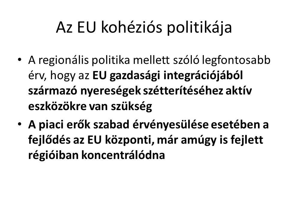 Az EU kohéziós politikája A regionális politika mellett szóló legfontosabb érv, hogy az EU gazdasági integrációjából származó nyereségek szétterítéséh