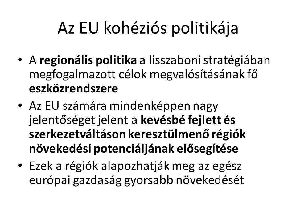 Az EU kohéziós politikája A regionális politika a lisszaboni stratégiában megfogalmazott célok megvalósításának fő eszközrendszere Az EU számára minde