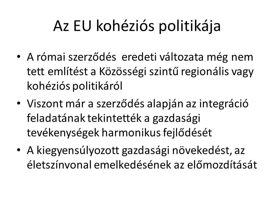 Az EU kohéziós politikája A római szerződés eredeti változata még nem tett említést a Közösségi szintű regionális vagy kohéziós politikáról Viszont má