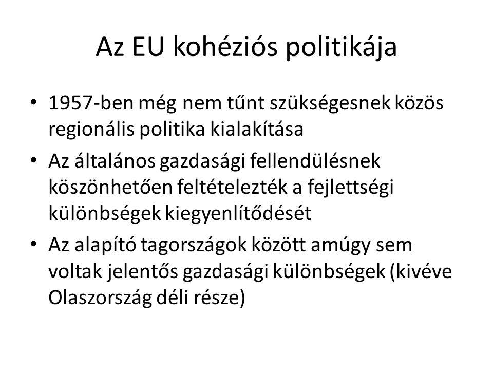 Az EU kohéziós politikája 1957-ben még nem tűnt szükségesnek közös regionális politika kialakítása Az általános gazdasági fellendülésnek köszönhetően