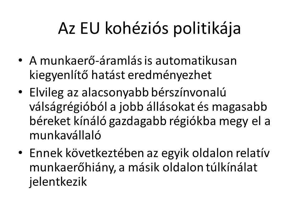 Az EU kohéziós politikája A munkaerő-áramlás is automatikusan kiegyenlítő hatást eredményezhet Elvileg az alacsonyabb bérszínvonalú válságrégióból a j