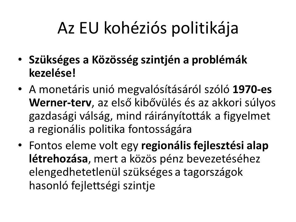 Az EU kohéziós politikája Szükséges a Közösség szintjén a problémák kezelése! A monetáris unió megvalósításáról szóló 1970-es Werner-terv, az első kib