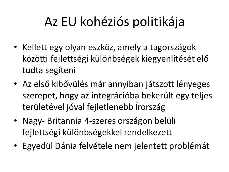 Az EU kohéziós politikája Kellett egy olyan eszköz, amely a tagországok közötti fejlettségi különbségek kiegyenlítését elő tudta segíteni Az első kibő