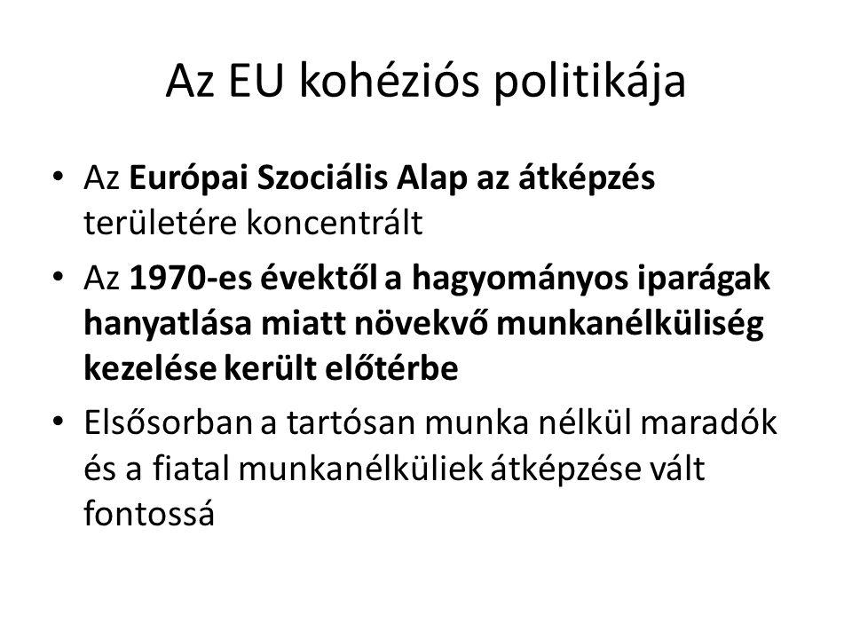 Az EU kohéziós politikája Az Európai Szociális Alap az átképzés területére koncentrált Az 1970-es évektől a hagyományos iparágak hanyatlása miatt növe