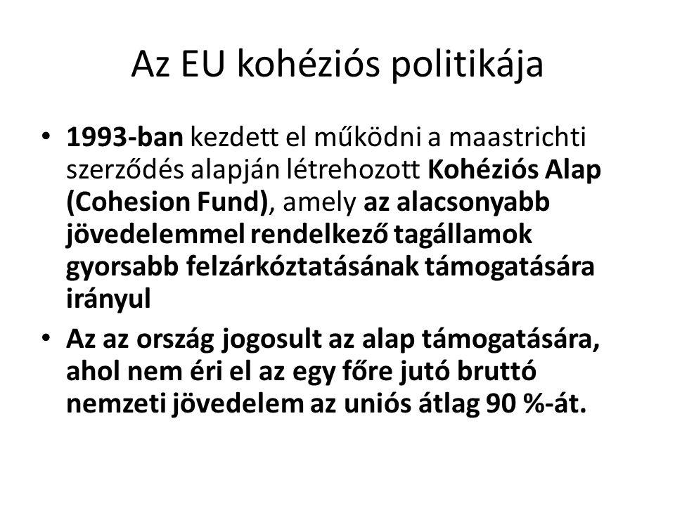 Az EU kohéziós politikája 1993-ban kezdett el működni a maastrichti szerződés alapján létrehozott Kohéziós Alap (Cohesion Fund), amely az alacsonyabb