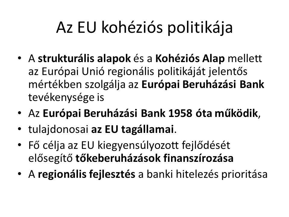 Az EU kohéziós politikája A strukturális alapok és a Kohéziós Alap mellett az Európai Unió regionális politikáját jelentős mértékben szolgálja az Euró