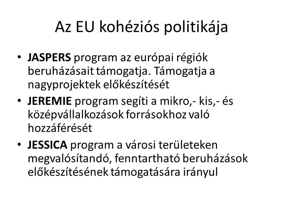 Az EU kohéziós politikája JASPERS program az európai régiók beruházásait támogatja. Támogatja a nagyprojektek előkészítését JEREMIE program segíti a m