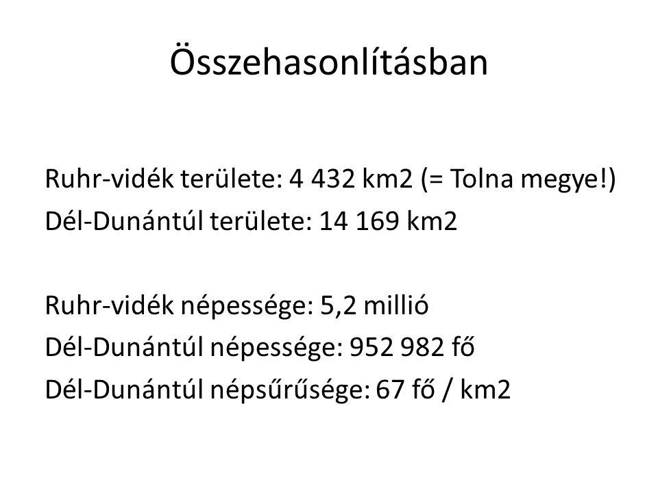 Összehasonlításban Ruhr-vidék területe: 4 432 km2 (= Tolna megye!) Dél-Dunántúl területe: 14 169 km2 Ruhr-vidék népessége: 5,2 millió Dél-Dunántúl nép