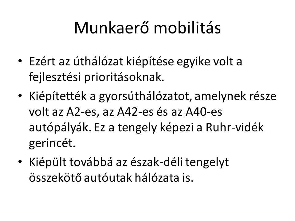 Munkaerő mobilitás Ezért az úthálózat kiépítése egyike volt a fejlesztési prioritásoknak. Kiépítették a gyorsúthálózatot, amelynek része volt az A2-es