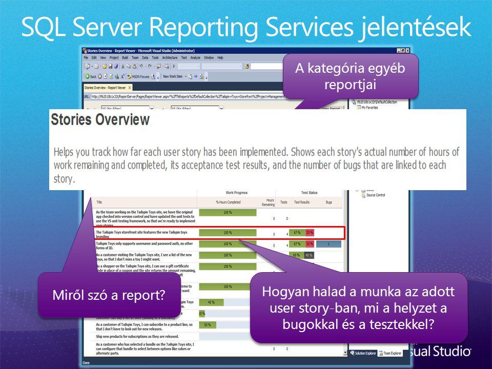 A kategória egyéb reportjai Hogyan halad a munka az adott user story-ban, mi a helyzet a bugokkal és a tesztekkel? Miről szó a report?