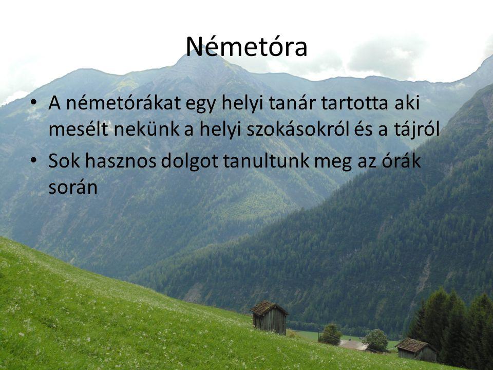 Németóra A németórákat egy helyi tanár tartotta aki mesélt nekünk a helyi szokásokról és a tájról Sok hasznos dolgot tanultunk meg az órák során