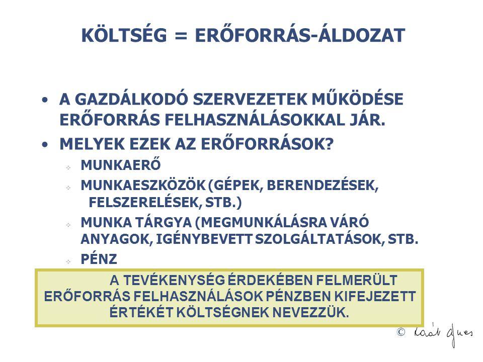 © A KÖLTSÉGGAZDÁLKODÁSI RENDSZEREK NÉGY SZINTJE 4.